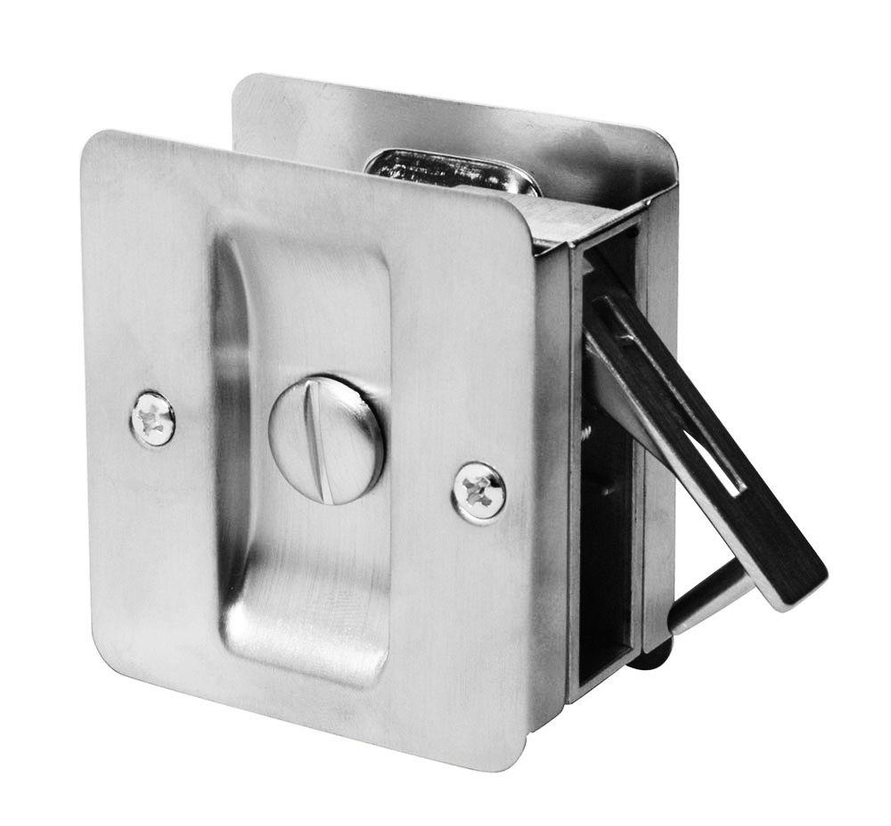 1031 Satin Chrome Square Privacy Pocket Door Lock