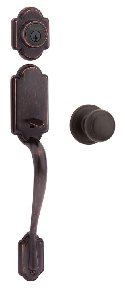 Columbia cylindre simple serrures dentrée à poignée w/Troy bouton Venetian Bronze