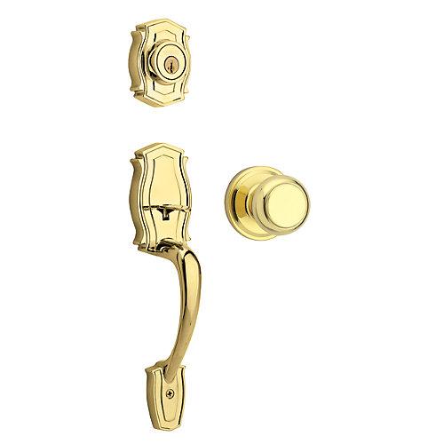 Heritage Single Cylinder Polished Brass Handle Set with Troy Knob