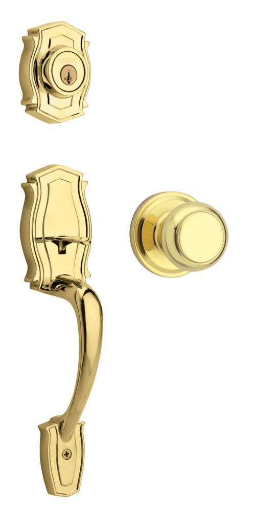 Weiser Heritage Single Cylinder Polished Brass Handle Set with Troy Knob