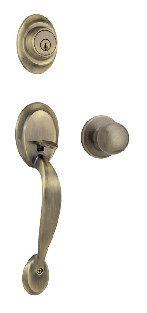 Kingsway Single Cylinder Antique Brass Handle Set with Fairfax Knob