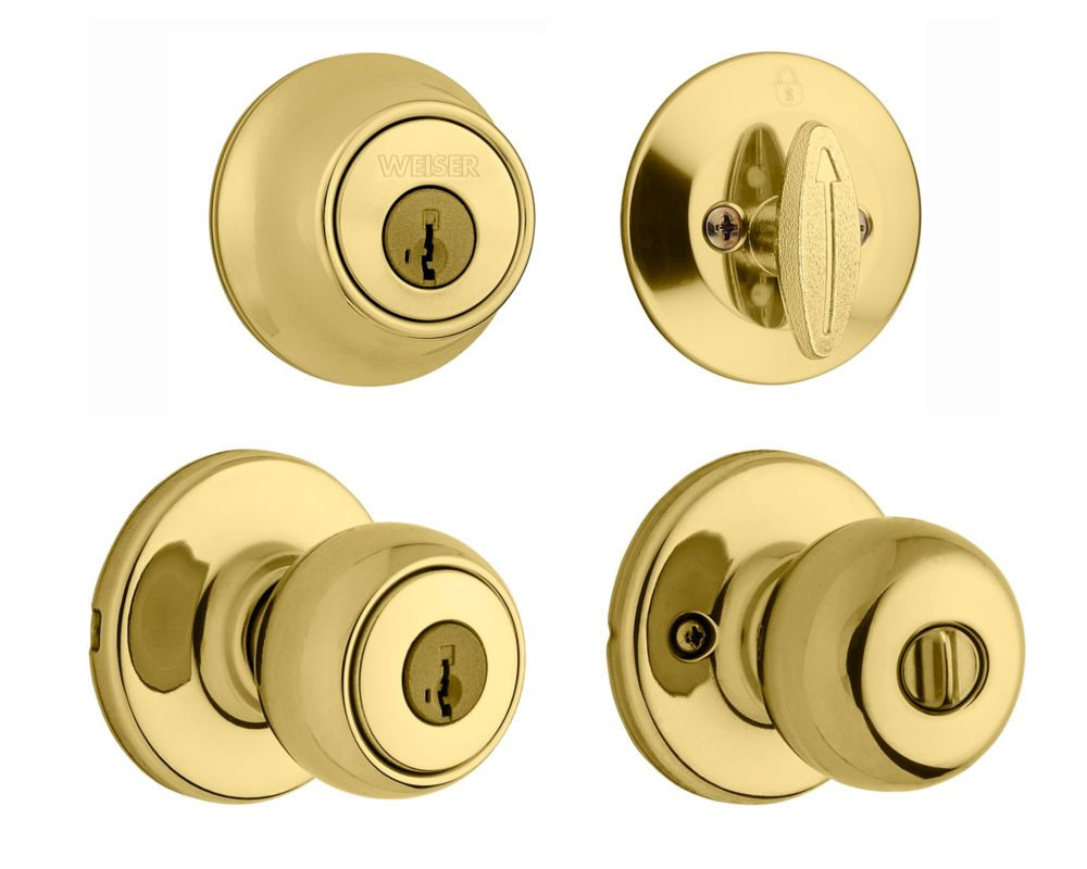 Weiser Fairfax Entry Handle Set in Polished Brass