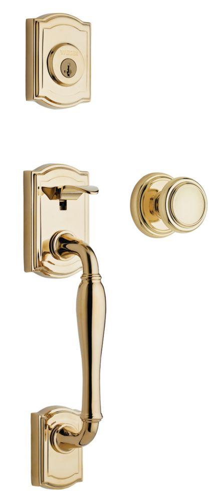 Bingsley Single Cylinder Polished Brass Handle Set with Wickham Knob