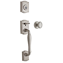 Weiser Bingsley Single Cylinder Satin Nickel Handle Set with Brixton Knob