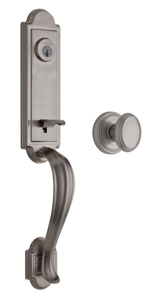 Whistler Single Cylinder Satin Nickel Handle Set with Brixton Knob