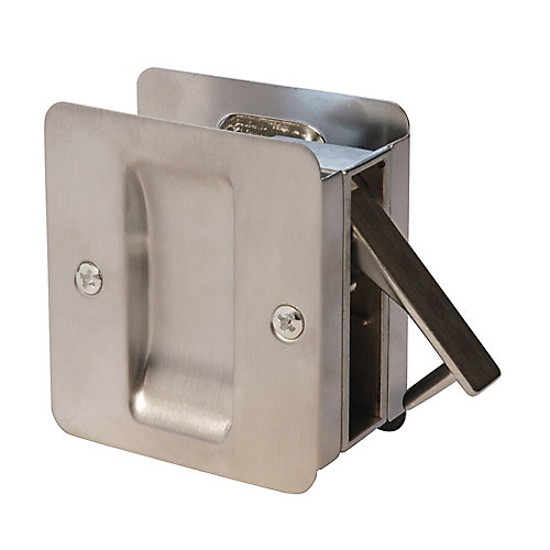 1030 Square Satin Nickel Pocket Door Passage Lock
