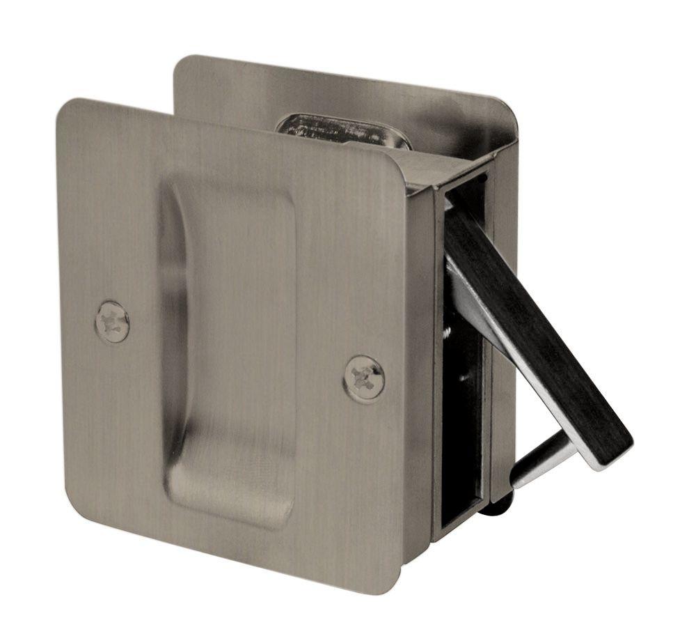 1030 Square Antique Nickel Pocket Door Passage Lock