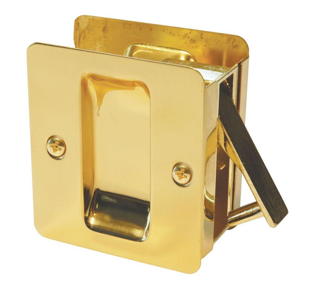 1030 Square Polished Brass Pocket Door Passage Lock