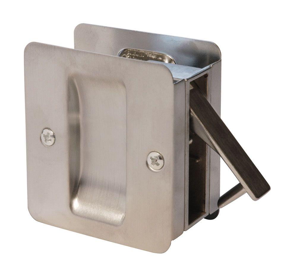 1030 Serrure carrée pour porte coulissante passage Chrome Satin