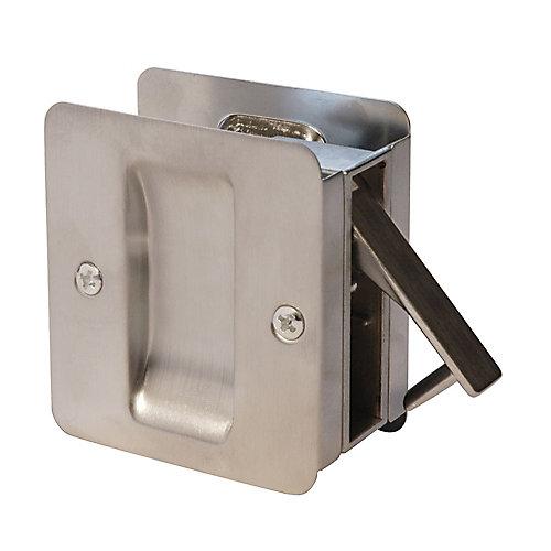 1030 Square Satin Chrome Pocket Door Passage Lock