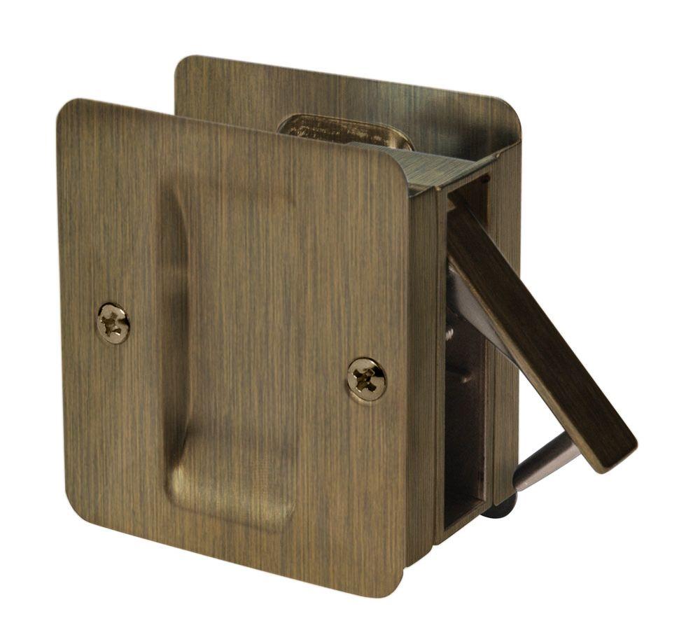 1030 Square Antique Brass Pocket Door Passage Lock
