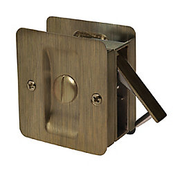 1031 Antique Brass Square Pocket Door Privacy Lock