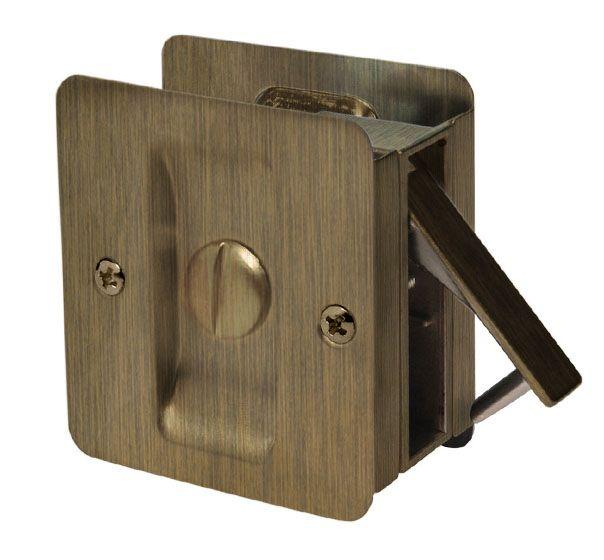 1031 Antique Brass Square Pocket Door Privacy Lock