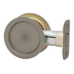 1030 Round Antique Nickel Pocket Door Passage Lock