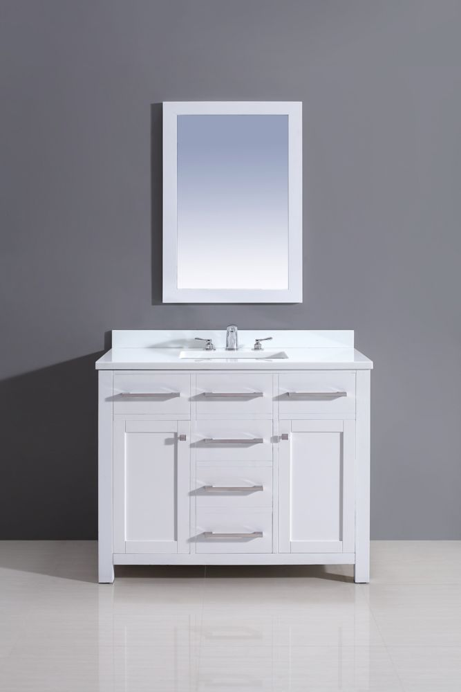 Amare 36 In Single Glossy White Bathroom Vanity Solid Surfacetop Bone Porcelain Sink 24 In