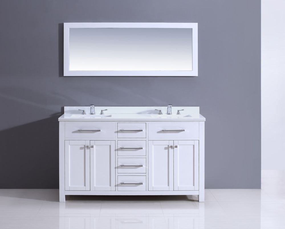 Courtyard Rialto 60-inch W Double Vanity in White Finish