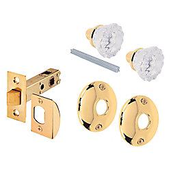 Prime-Line Ensemble de loquet de porte communicante, bouton en verre avec pêne demi-tour.
