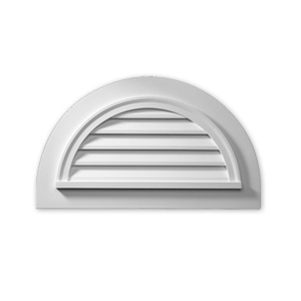 51 Inch x 31 Inch x 2 Inch Polyurethane Functional Half Round Louver Gable Grill Vent with Flat T...
