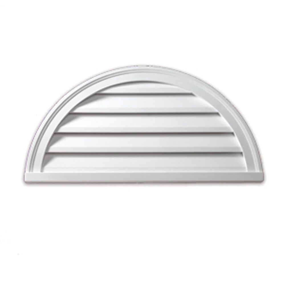 41-5/8 Inch x 29 Inch x 3-13/16 Inch Functional Half Round Louver Gable Grill Vent with Decorativ...