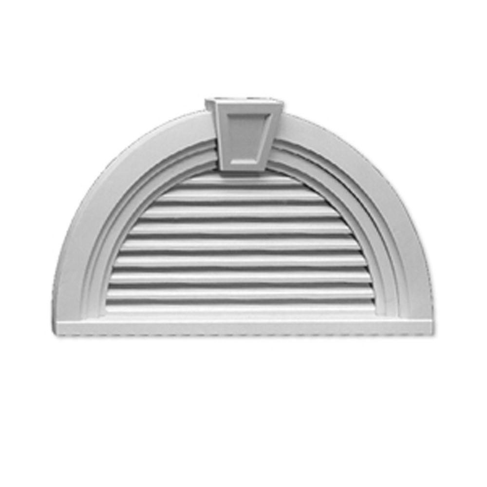 Évent de pignon fonctionnel en demi-cercle à persiennes avec bordure décorative et clé de voûte 3...