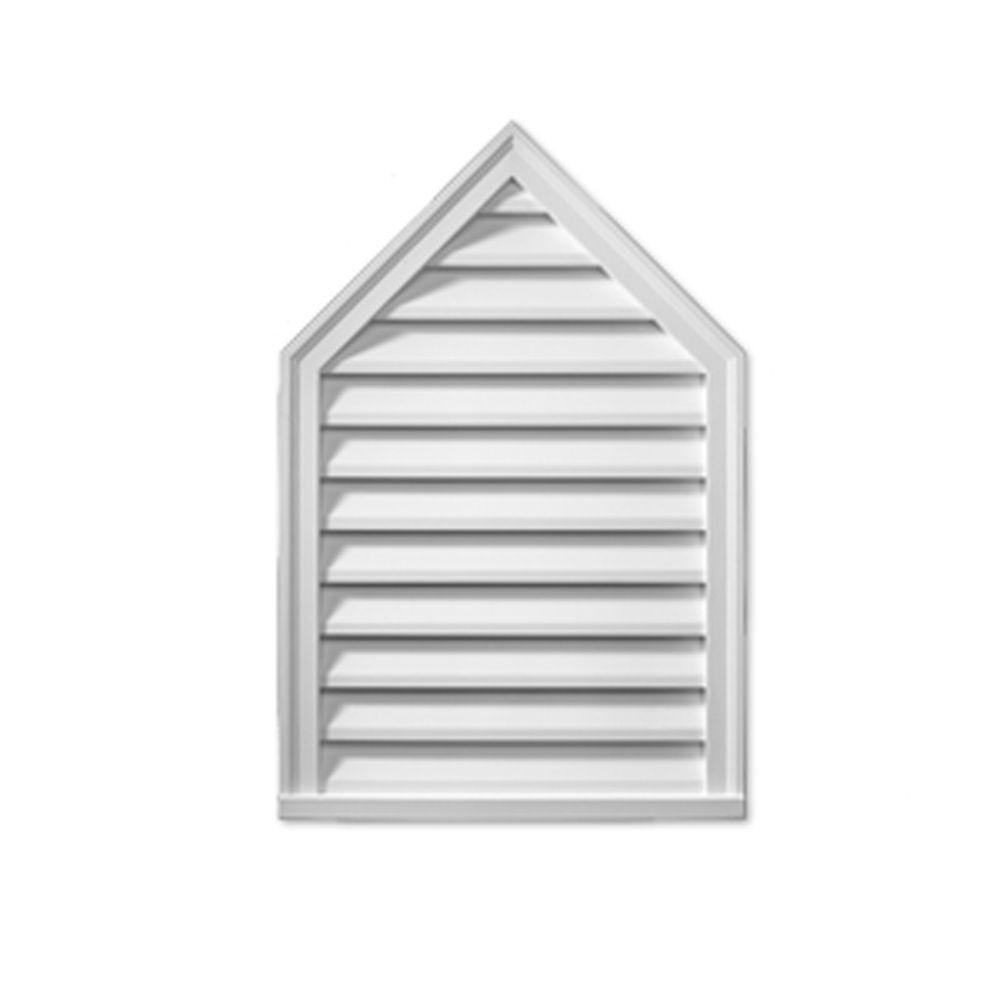 Évent de pignon décoratif avec pointe à persiennes en polyuréthane 24 po x 36 po x 2 po