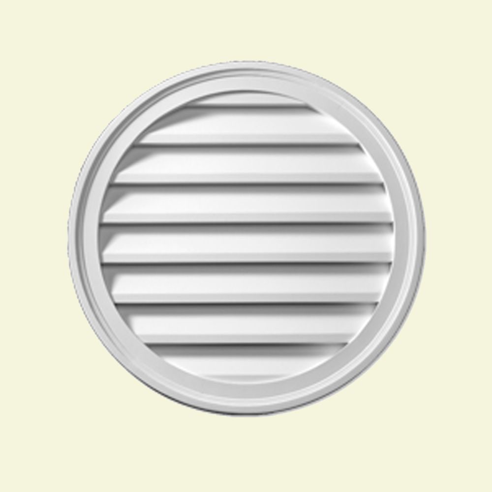 28 Inch x 1-5/8 Inch Polyurethane Decorative Round Louver Gable Grill Vent