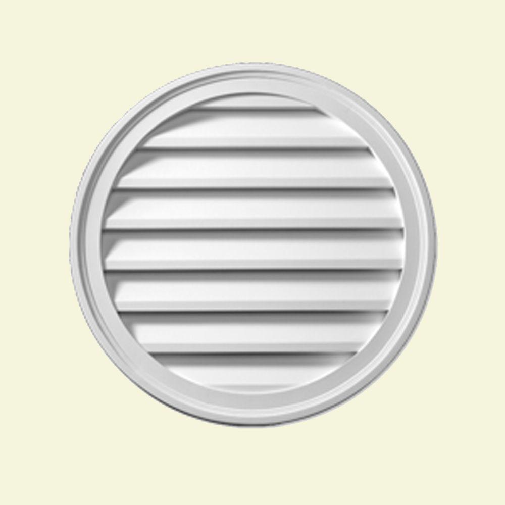 Évent de pignon décoratif rond à persiennes en polyuréthane 28 po x 1-5/8 po