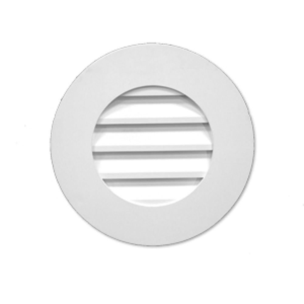Évent de pignon décoratif standard rond à persiennes en polyuréthane 27 po x 2-1/2 po