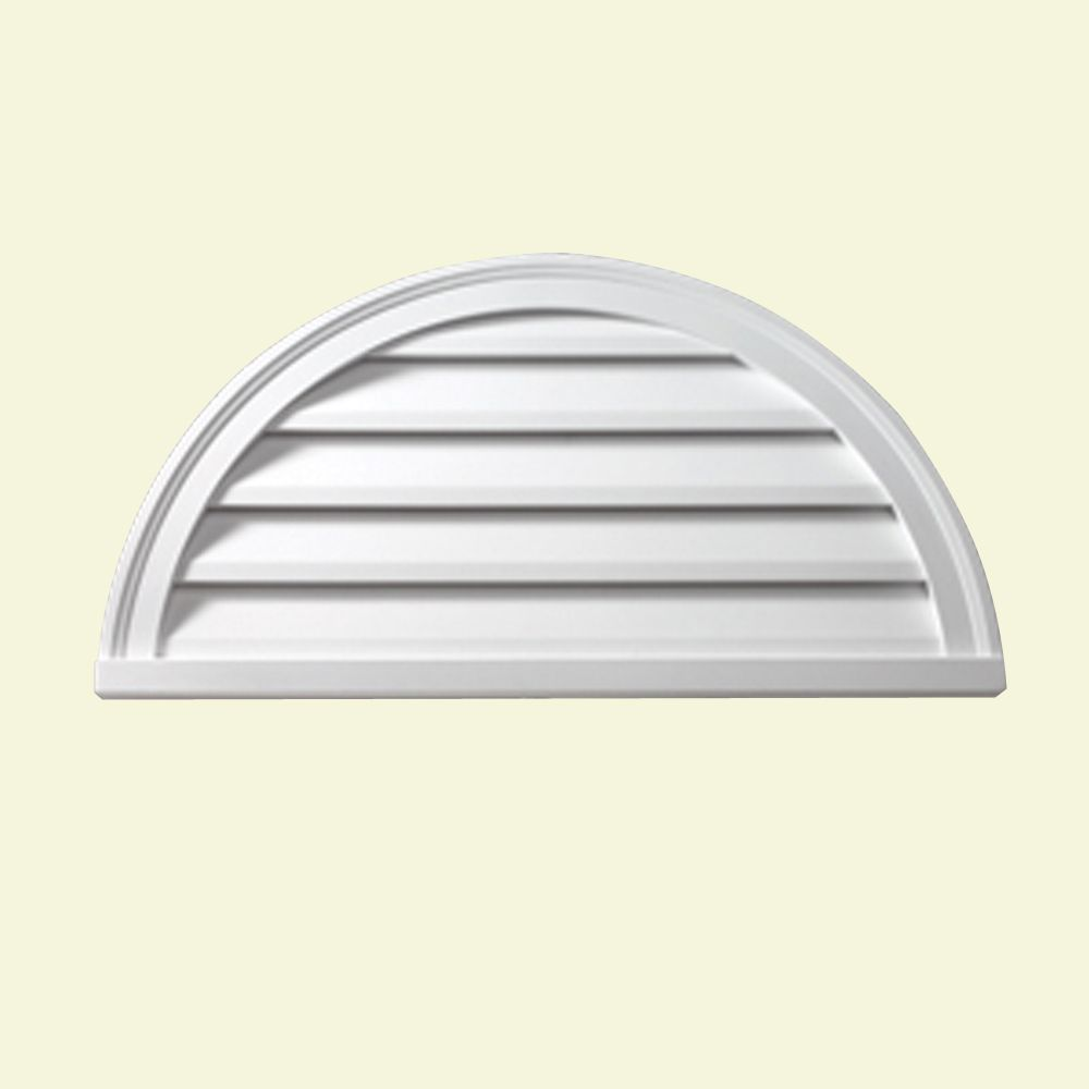 36-inch x 18-inch x 2-inch Polyurethane Decorative Half Round Louver Gable Grill Vent