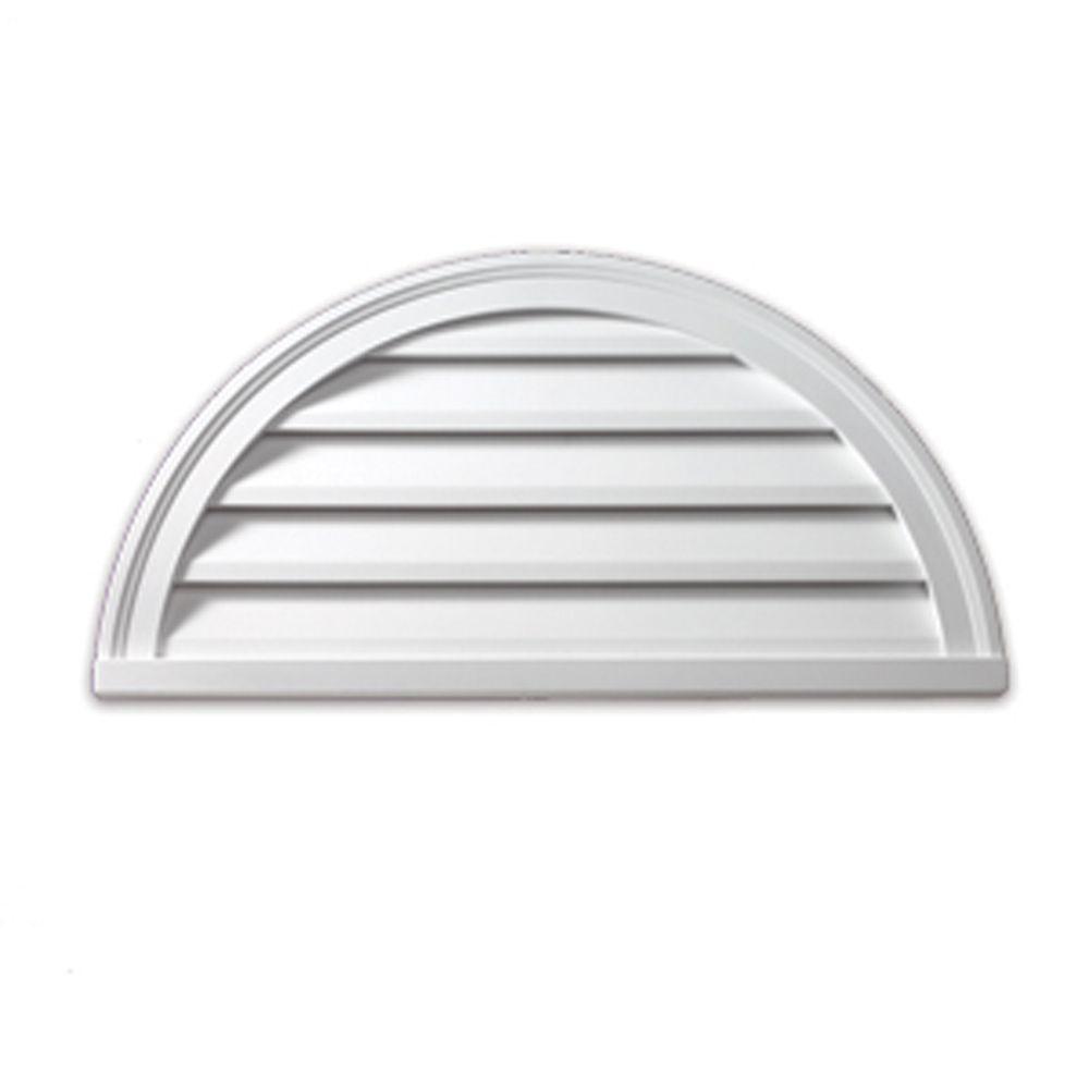 60-inch x 30-inch x 2-inch Polyurethane Decorative Half Round Louver Gable Grill Vent