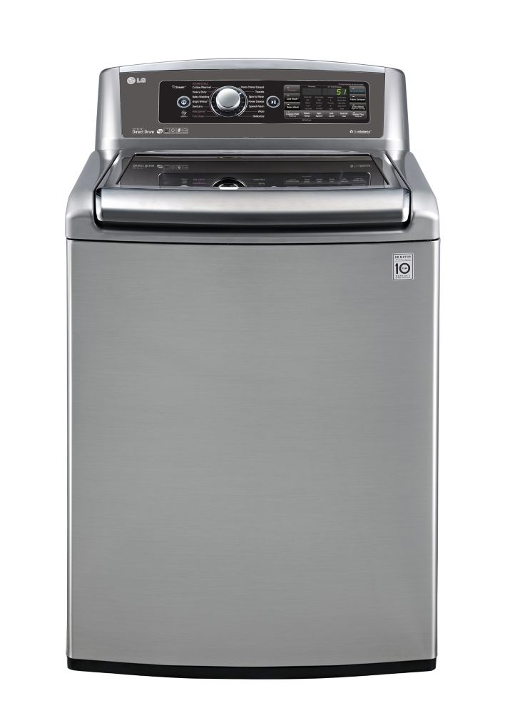 6.1 cu. ft. High Efficiency Top Load Washer with TurboWash and Steam Technology in Stainless Look