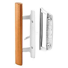 Sliding Glass Door Handle Set, 3-15/16 inch Diecast, White, Mortise/Hook Style