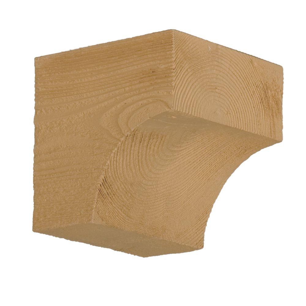 Console en polyuréthane à texture de grain de bois non fini 5-1/2 po x 3-1/2 po x 5-1/2 po