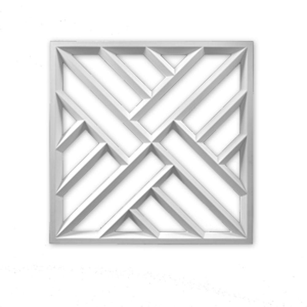 27 3/4-inch x 27 3/4-inch x 1 1/2-inch Primed Polyurethane Crosshatch Decorative Panel
