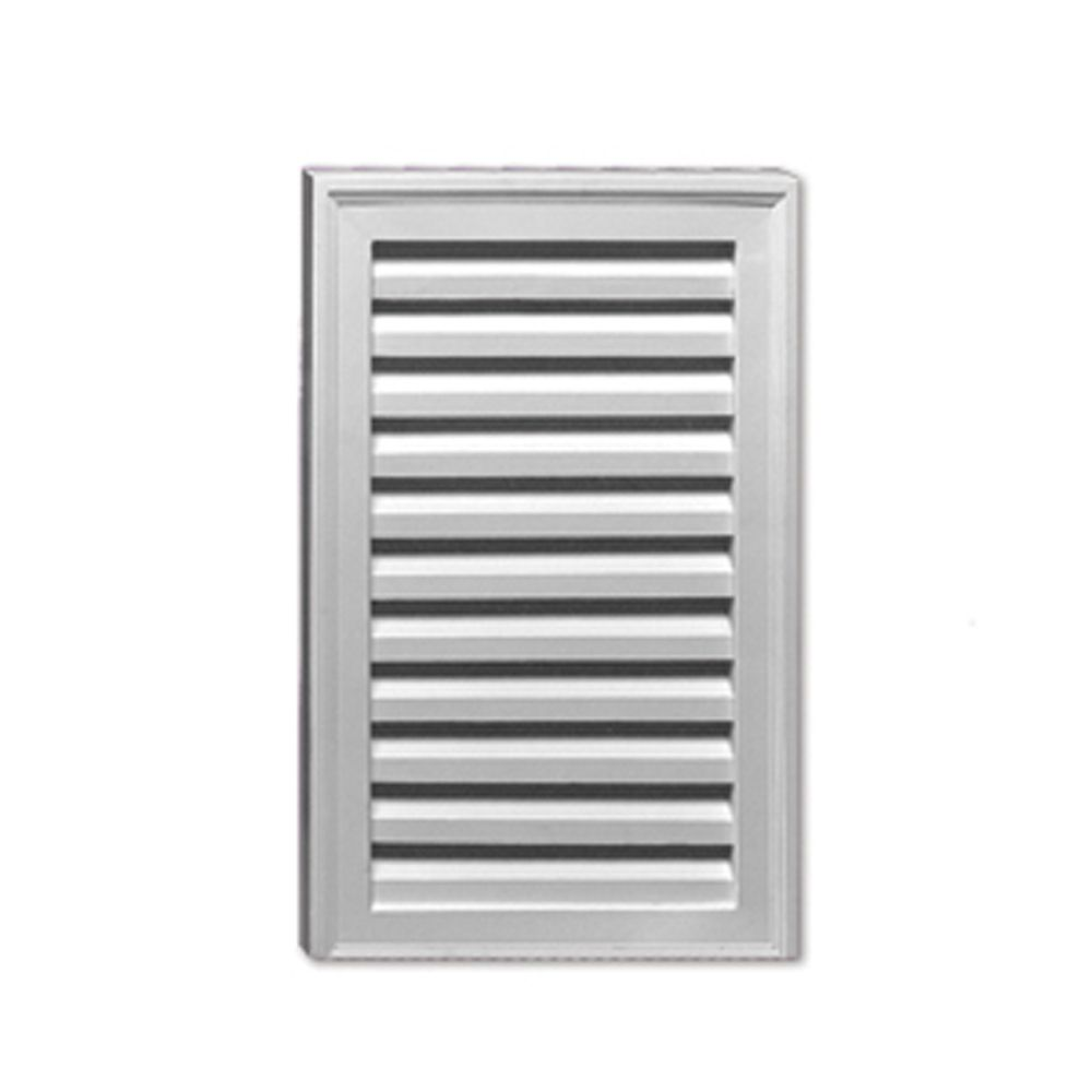 18-inch x 24-inch x 1 5/8-inch Polyurethane Vertical Rectangle Louver Gable Grill Vent with No Si...