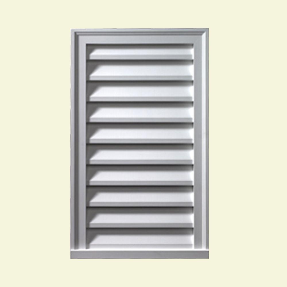 Évent de pignon décoratif vertical à persiennes en polyuréthane 12 po x 30 po x 2 po