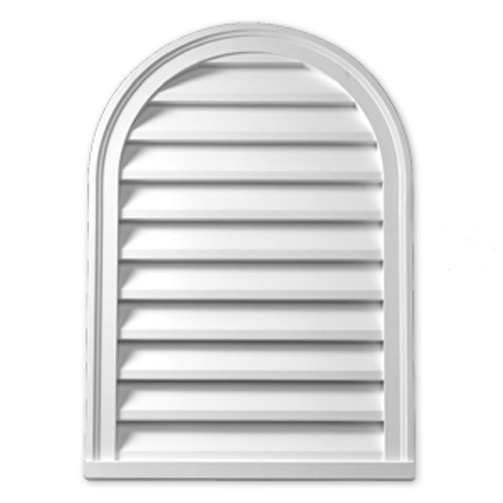 29 3/16-inch x 38 11/16-inch x 1-inch Primed Polyurethane Cathedral Louver Gable Grill Vent