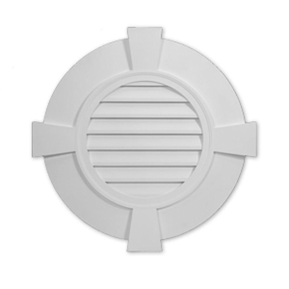 Évent de pignon décoratif rond à persiennes avec bordure plate et clé de voûte en polyuréthane 38...