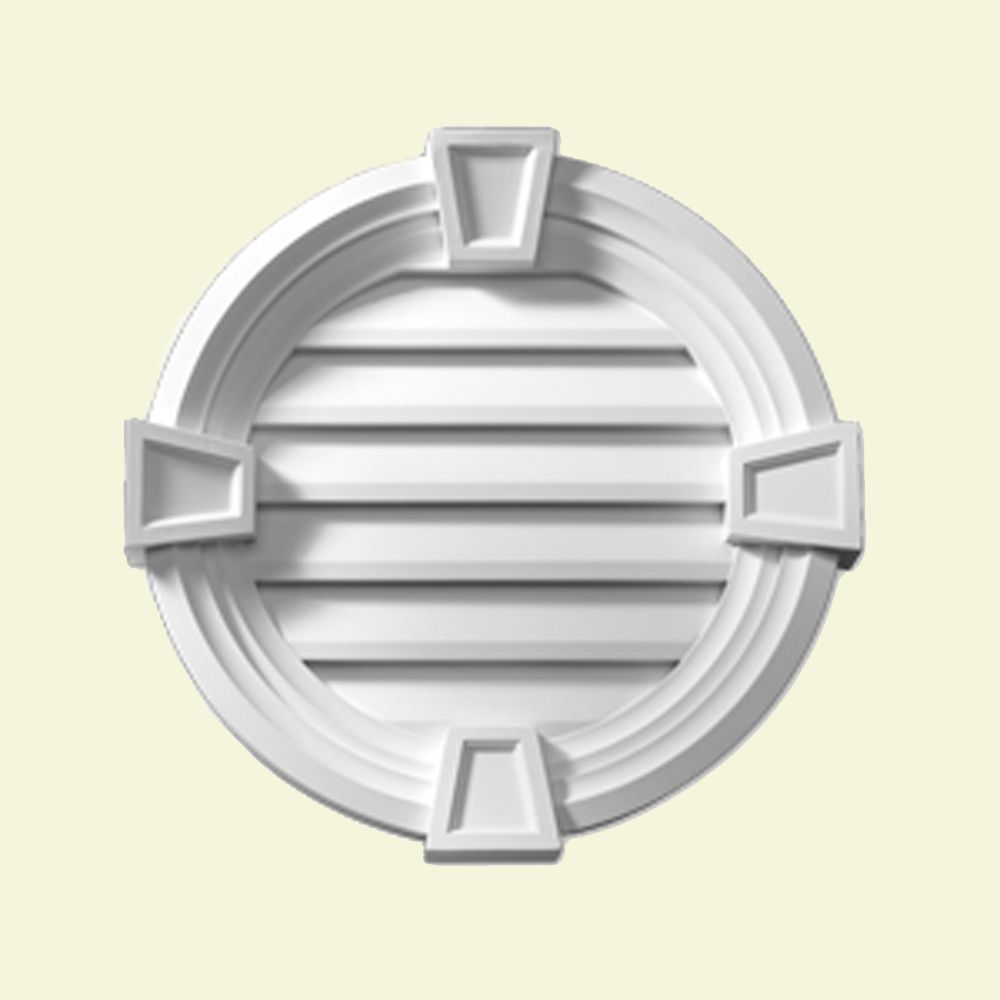 25 Inch x 3-5/8 Inch Polyurethane Functional Round Louver Gable Grill Vent with Decorative Trim a...