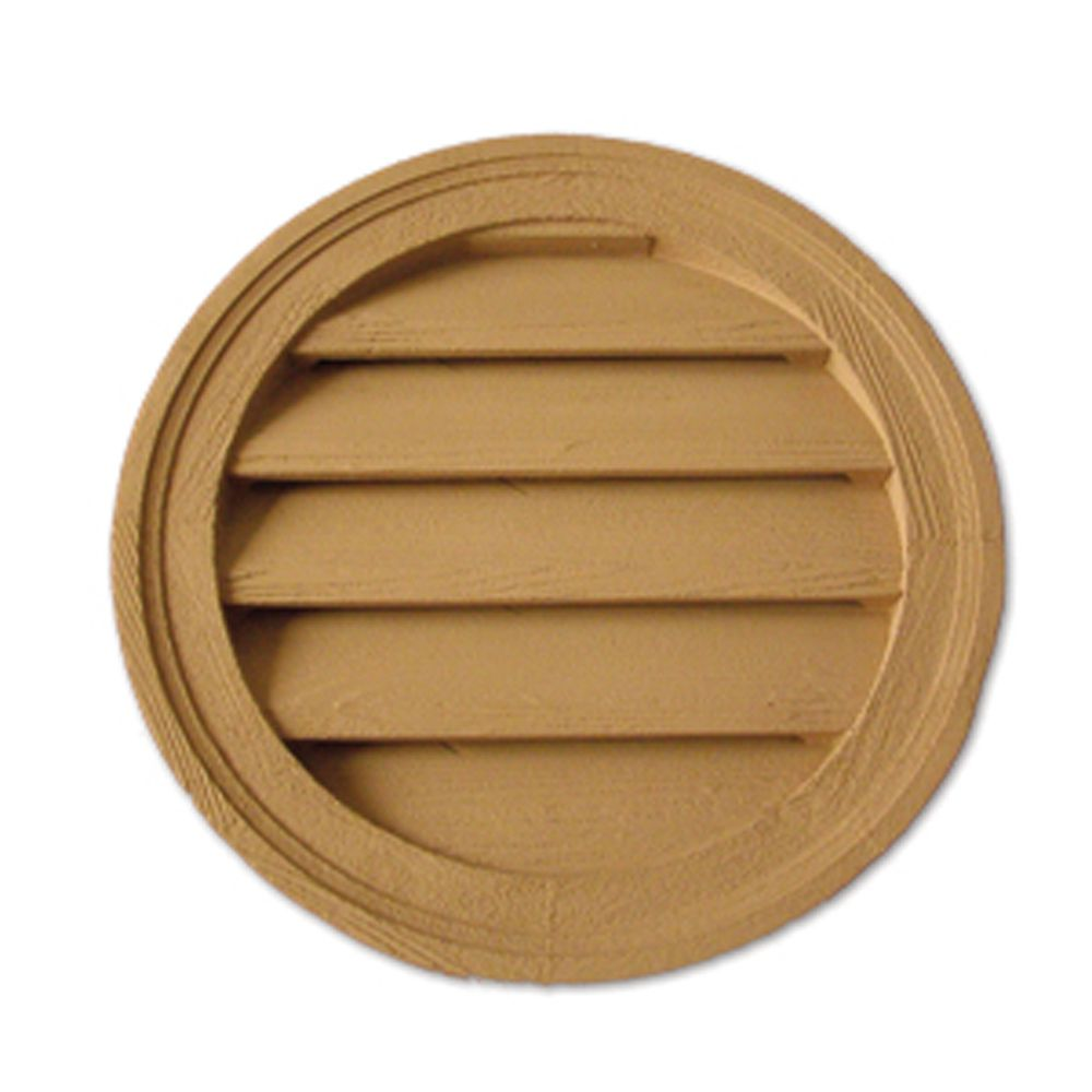 22 Inch x 1-5/8 Inch Polyurethane Functional Round Louver Gable Grill Vent with Wood Grain Textur...