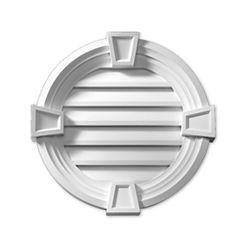 Fypon Évent de pignon fonctionnel rond à persiennes avec bordure décorative et clé de voûte en polyuréthane 17-1/8 po x 3-21/32 po