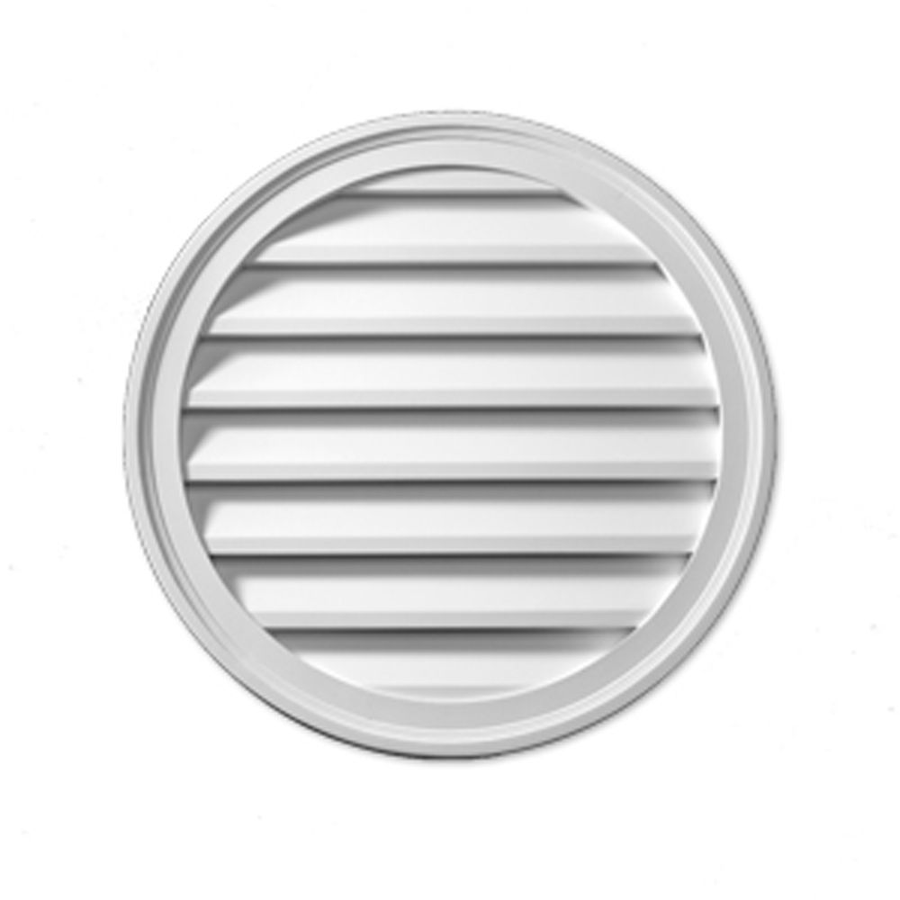 29-7/8 Inch x 29-7/8 Inch x 2-1/4 Inch Polyurethane Functional Round Louver Gable Grill Vent