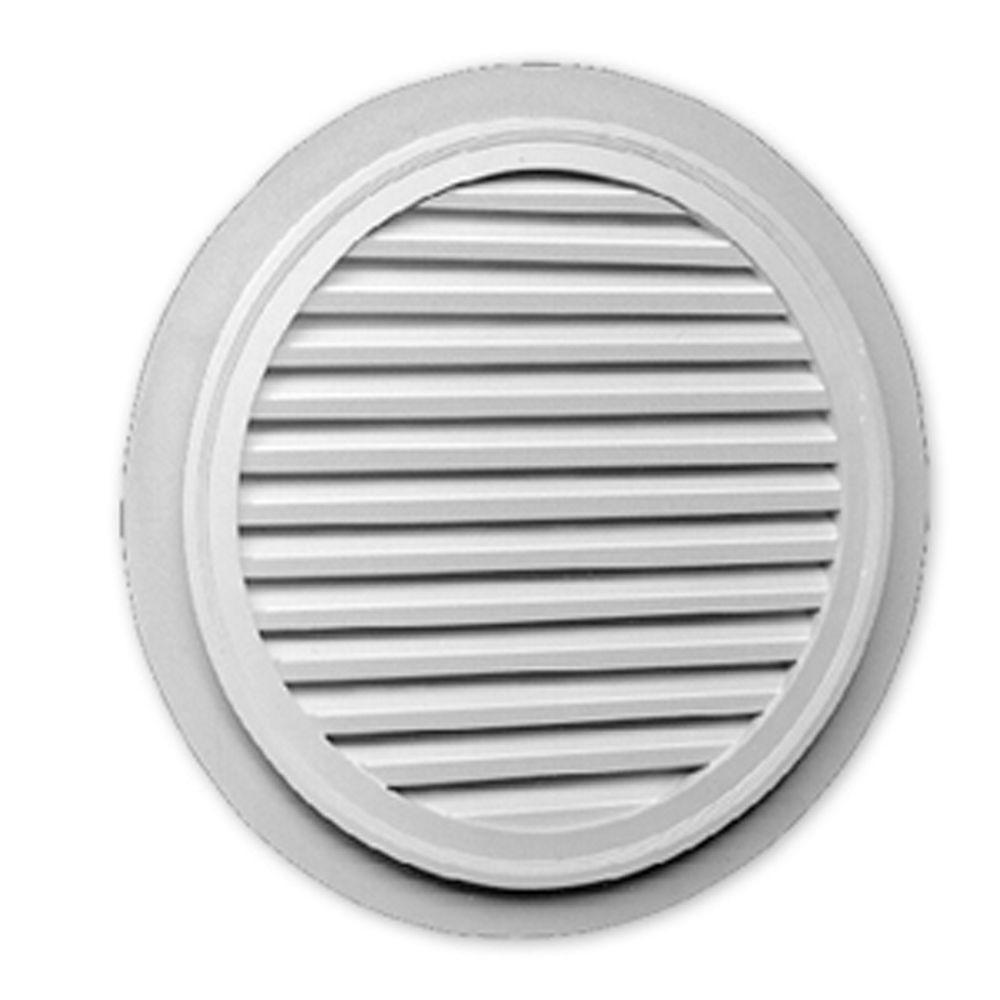 Évent de pignon décoratif rond à persiennes avec bordure plate en polyuréthane 32 po x 1-5/8 po