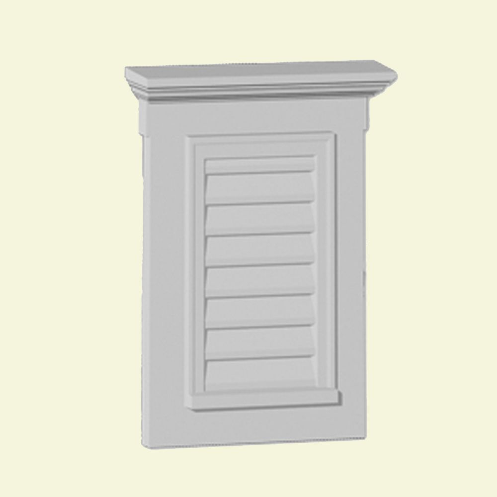 26 1/2-inch x 33 1/2-inch x 3-inch Polyurethane Vertical Louver Gable Grill Vent with Trim