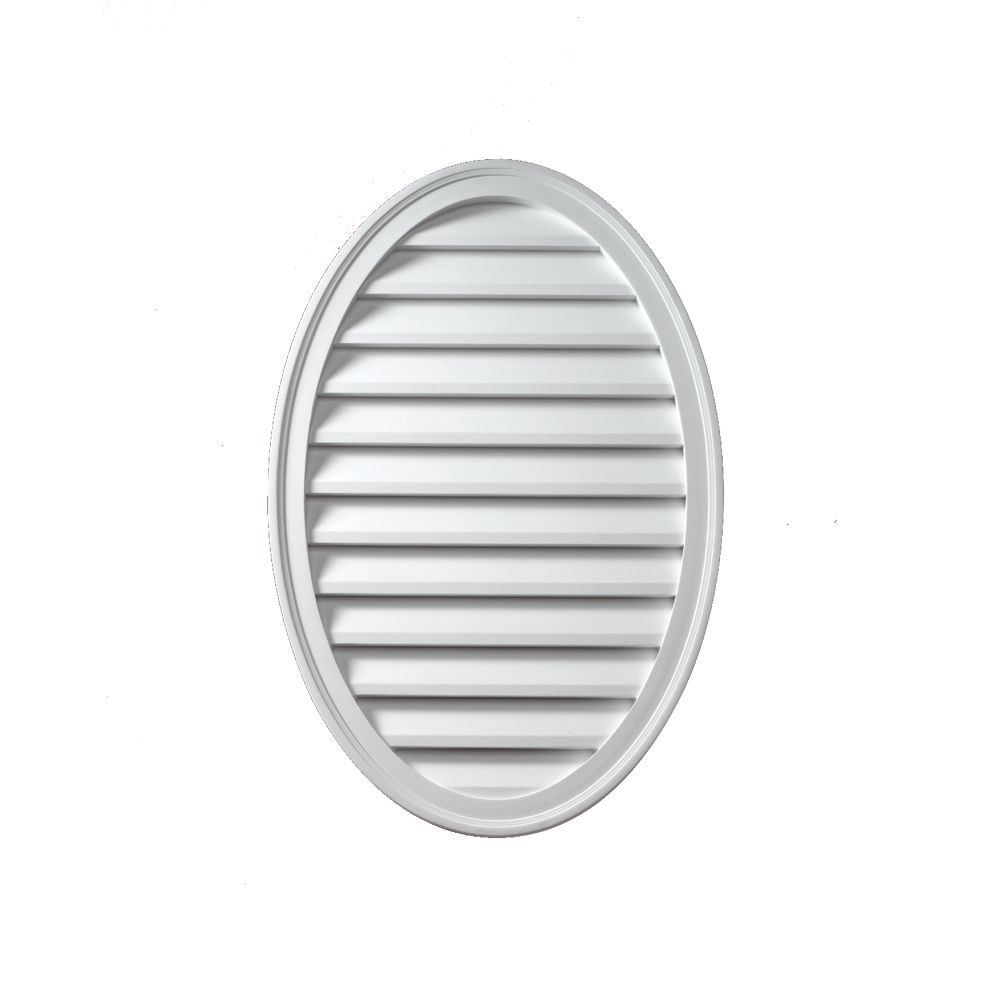 18 Inch x 24 Inch x 1-5/8 Inch Polyurethane Functional Oval Vertical Louver Gable Grill Vent