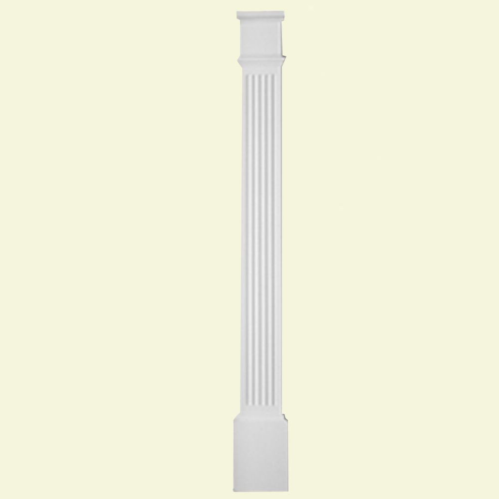 1 5/8-inch x 5 1/4-inch x 82-inch Primed Polyurethane Fluted Pilaster with Moulded Plinth