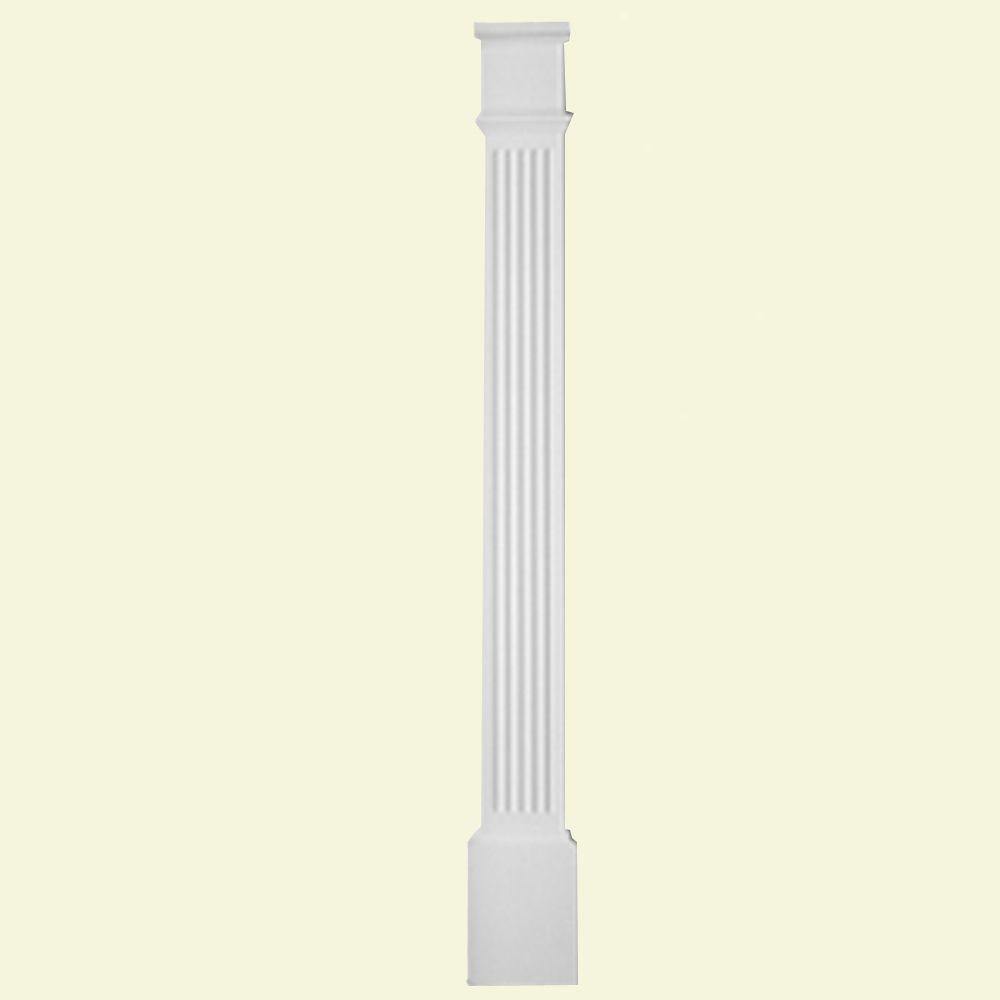 Pilastre cannelé avec plinthe moulée en polyuréthane apprêté 1-5/8 po x 5-1/4 po x 82 po