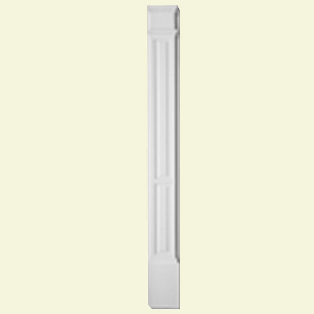3-inch x 9-inch x 90-inch Primed Polyurethane Double Panel Pilaster with Moulded Plinth