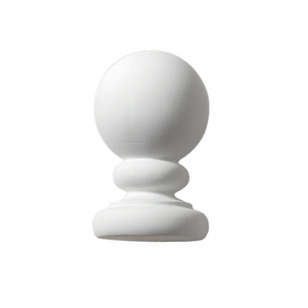 5 1/4-inch x 3 1/4-inch x 3 1/4-inch Primed Polyurethane Post Ball Top Finial