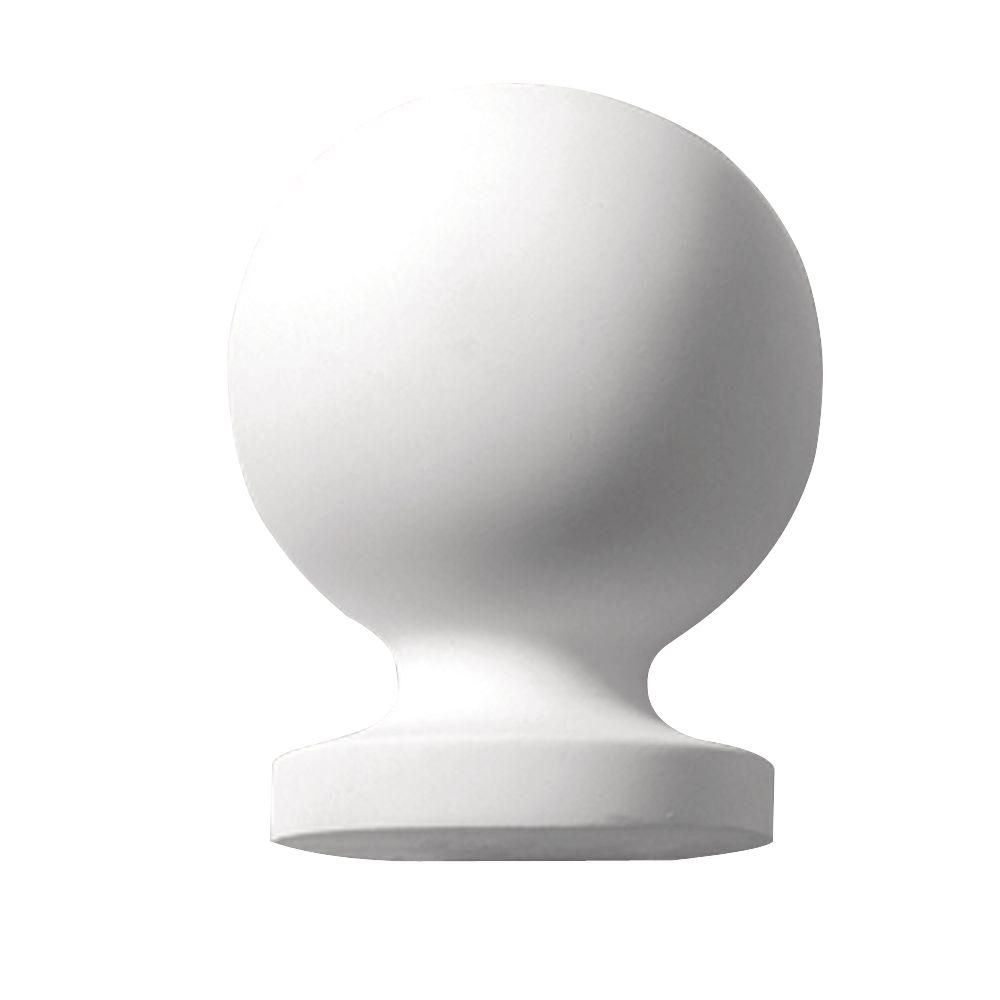 Faîteau de style boule en polyuréthane apprêté 5-13/32 po x 3-31/32 x 3-31/32